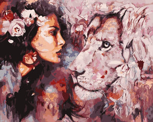 "DIY Painting By Numbers -  Pink Lion (16""x20"" / 40x50cm)"