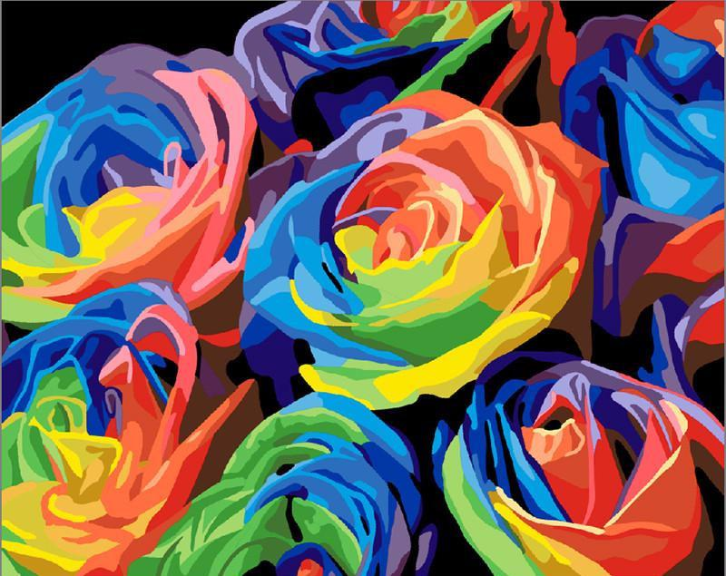 "DIY Painting By Numbers - Colorful Flowers (16""x20"" / 40x50cm)"