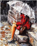 "DIY Painting By Numbers - Girl Under the Umbrella (16""x20"" / 40x50cm)"