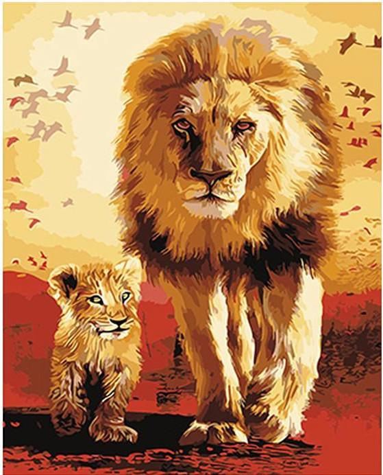 "DIY Painting By Numbers - Lion Father And Son (16""x20"" / 40x50cm)"