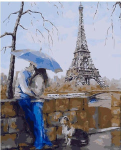 "DIY Painting By Numbers - The Eiffel Tower and Lovers (16""x20"" / 40x50cm)"