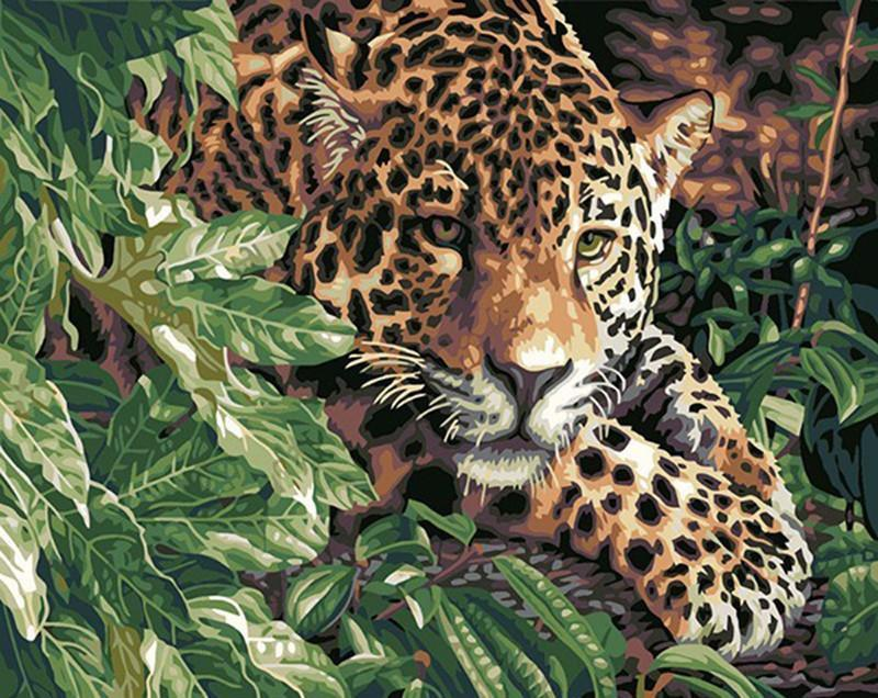 "DIY Painting By Numbers - Crunching Leopard (16""x20"" / 40x50cm)"
