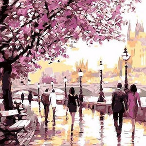 "DIY Painting By Numbers -  Cherry Blossoms Road (16""x20"" / 40x50cm)"
