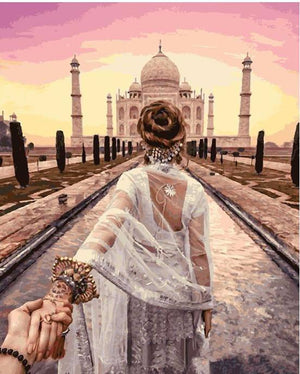 "DIY Painting By Numbers - Taj Mahal (16""x20"" / 40x50cm)"