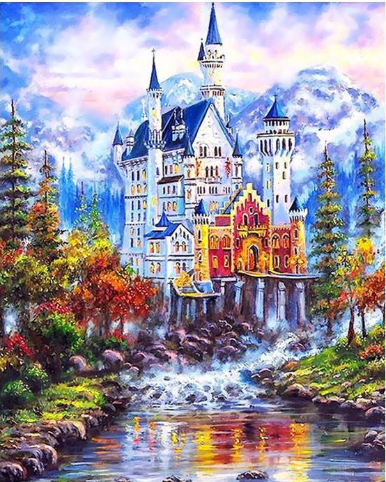 "DIY Painting By Numbers - Fantasy Castle Landscape (16""x20"" / 40x50cm)"