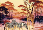 "DIY Painting By Numbers - Giraffe And Zebra (16""x20"" / 40x50cm)"