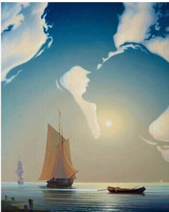 "DIY Painting By Numbers - Lovers Sailing Boat (16""x20"" / 40x50cm)"