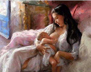 "DIY Painting By Numbers - Breastfeeding Woman (16""x20"" / 40x50cm)"
