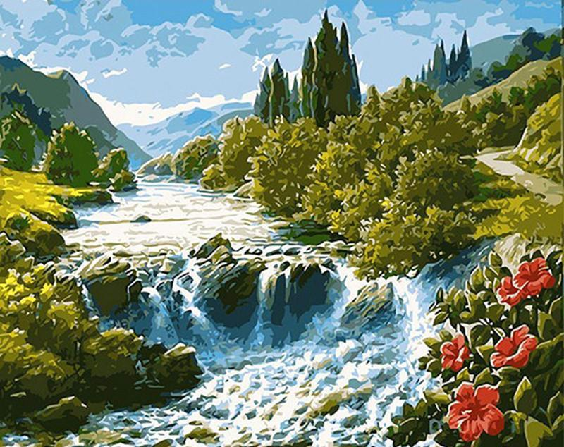 "DIY Painting By Numbers - Mountain River (16""x20"" / 40x50cm)"