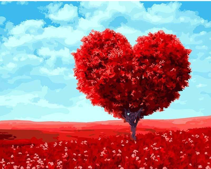 "DIY Painting By Numbers - Romantic Heart Tree (16""x20"" / 40x50cm)"
