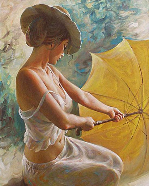 "DIY Painting By Numbers - Woman Holding Umbrella (16""x20"" / 40x50cm)"
