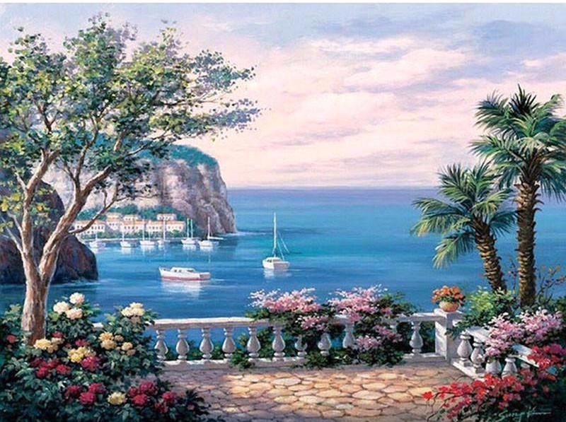 Diy Painting By Numbers The Mediterranean Sea Landscape 16 Quot X20 Quot 4 Max Novelty
