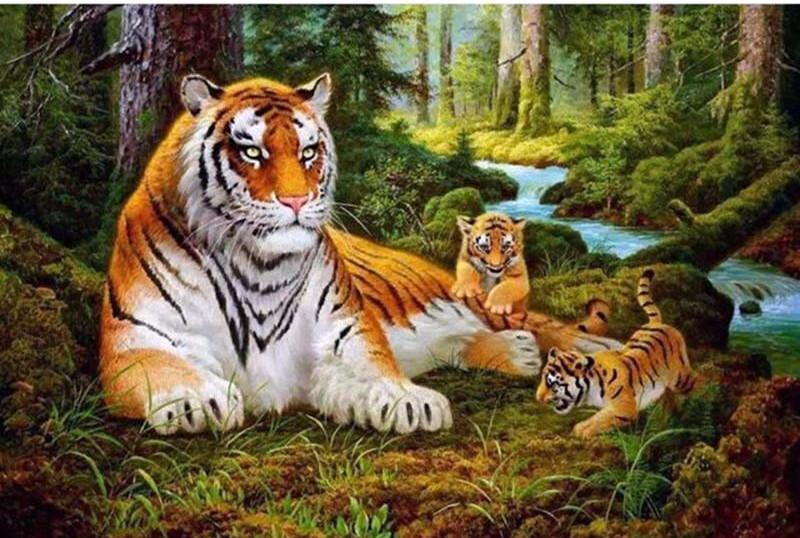 "DIY Painting By Numbers - Tigers Family (16""x20"" / 40x50cm)"
