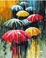 "DIY Painting By Numbers - Umbrellas (16""x20"" / 40x50cm)"