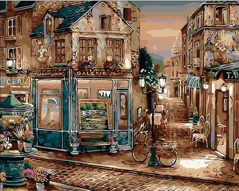 "DIY Painting By Numbers - Vintage European Coffee Shop (16""x20"" / 40x50cm)"