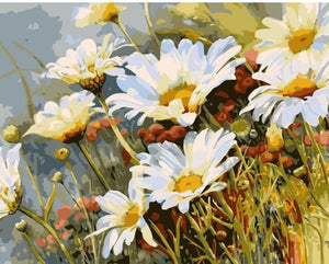 "DIY Painting By Numbers - White Flowers (16""x20"" / 40x50cm)"