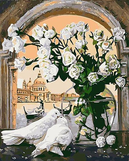 "DIY Painting By Numbers - White Pigeons And Flowers (16""x20"" / 40x50cm)"