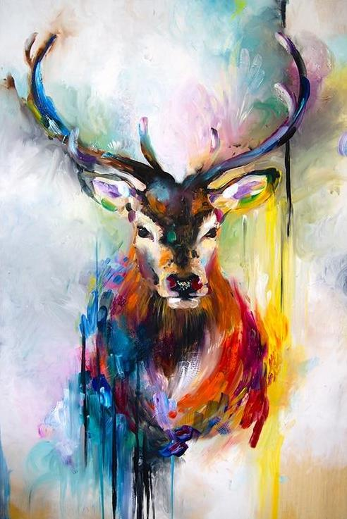 "DIY Painting By Numbers -Abstract Deer(16""x20"" / 40x50cm)"