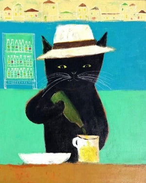"DIY Painting By Numbers - Cheers Cat (16""x20"" / 40x50cm)"