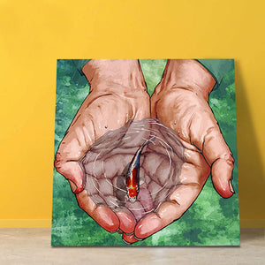 "DIY Painting By Numbers -Fish In Hands (16""x20"" / 40x50cm)"