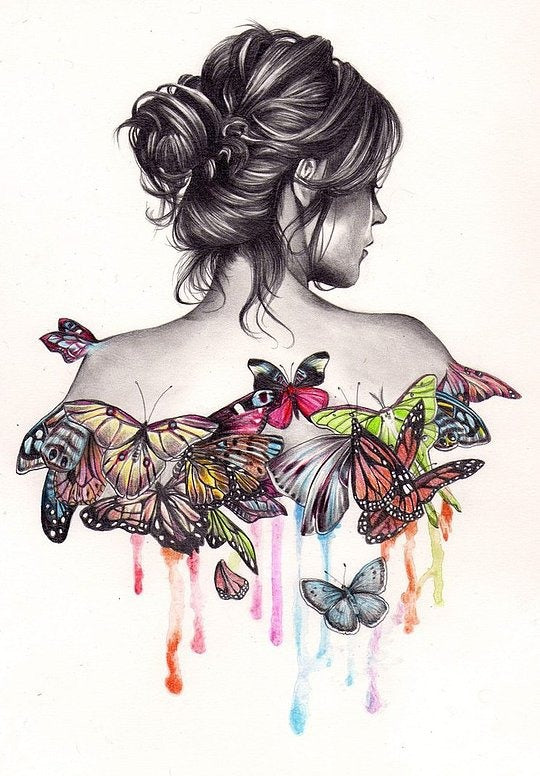"DIY Painting By Numbers - Butterfly Girl (16""x20"" / 40x50cm)"