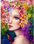 "DIY Painting By Numbers -Girl With Colorful Flowers  (16""x20"" / 40x50cm)"
