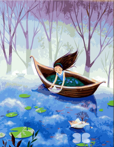 "DIY Painting By Numbers -Girl On A Canoe (16""x20"" / 40x50cm)"
