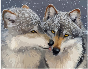 "DIY Painting By Numbers -Two Wolves (16""x20"" / 40x50cm)"