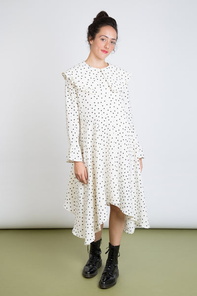 Polka Dot Flared Midi Dress