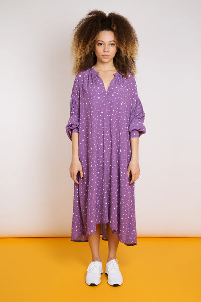Loose Fit Polka Dot Dress - Lilac
