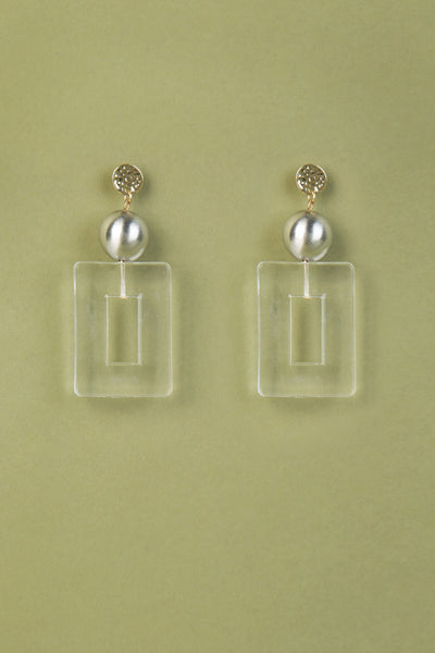 Clear Rectangular Pendant Earrings