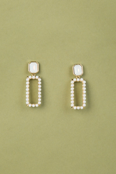 Rectangle Pearl Pendant Earrings