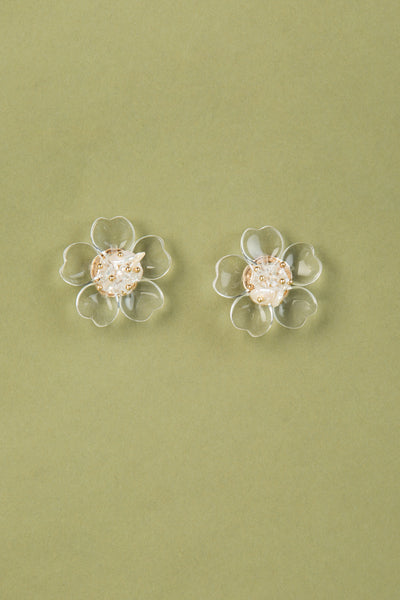 Clear Flower & Pearls Stud Earrings