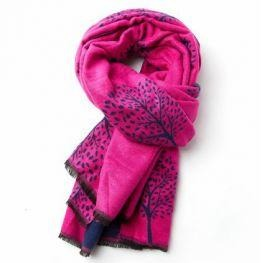Terry Mulberry Tree Scarf  Navy/Fucsia 20301
