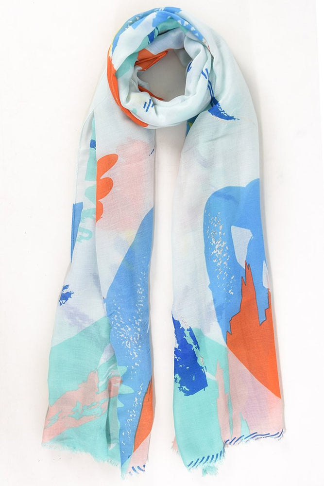 Mint and Orange Scarf 2672MI