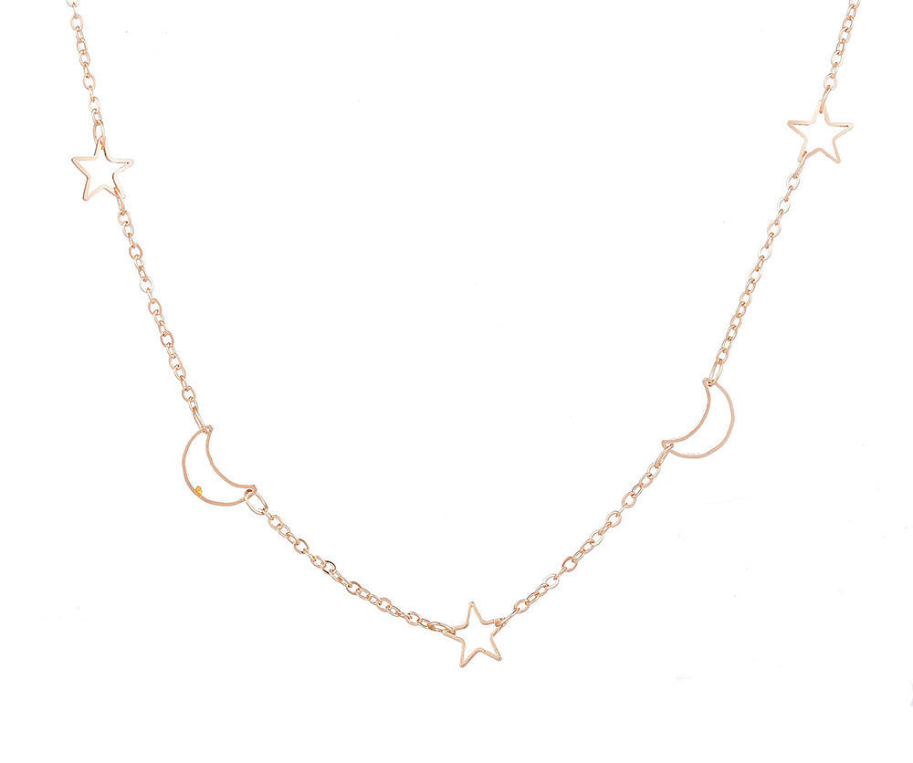 Gold Star and Moon Short Necklace