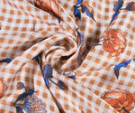 Orange Check Floral Scarf
