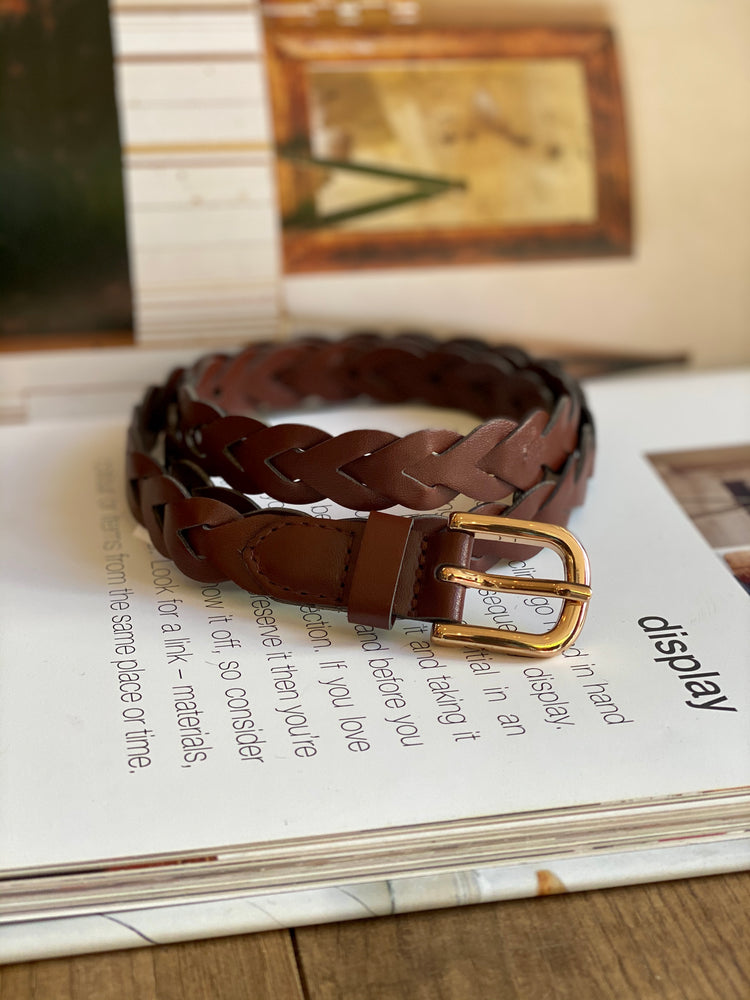 Brown Plait Style Belt