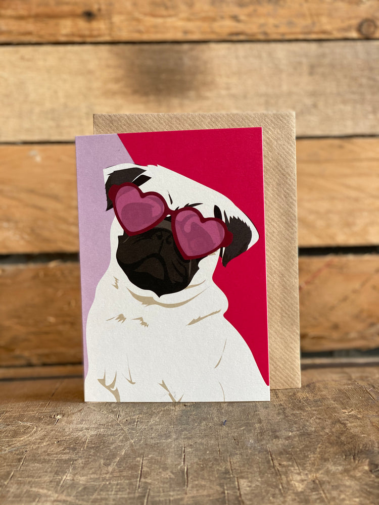 quincy pug greeting card