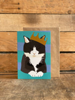 black and white cat greeting card for any occasion