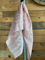 Pink Floral Print Square Head Scarf