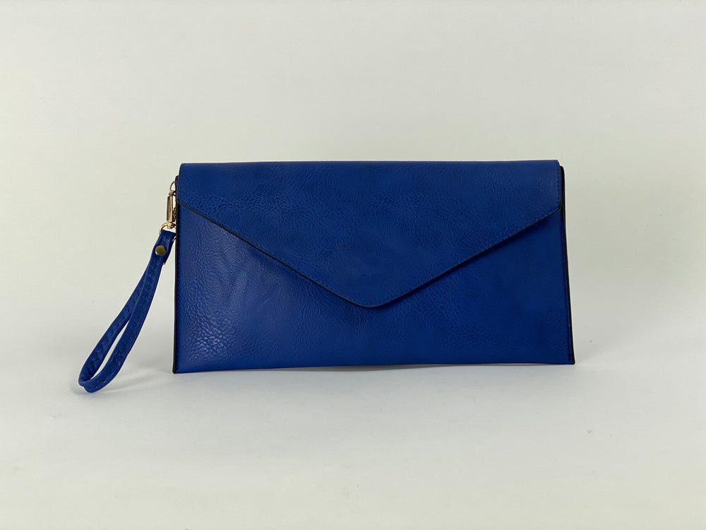 Pretty Vacant royal blue envelope clutch bag - faux leather - front view