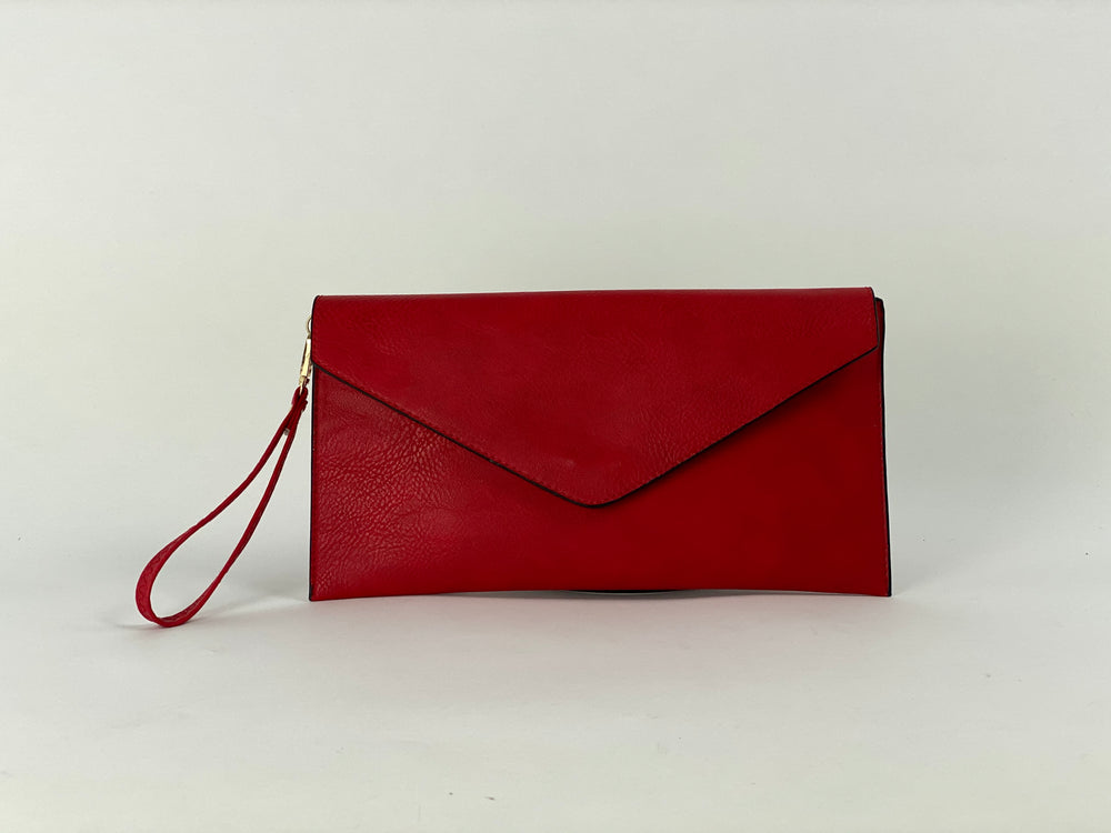 Pretty Vacant red envelope clutch bag - faux leather with wrist strap- full view