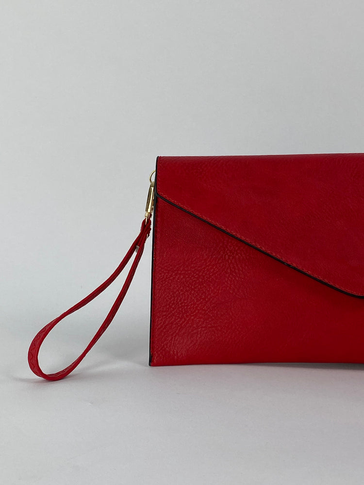 Pretty Vacant red envelope clutch bag - faux leather with wrist strap