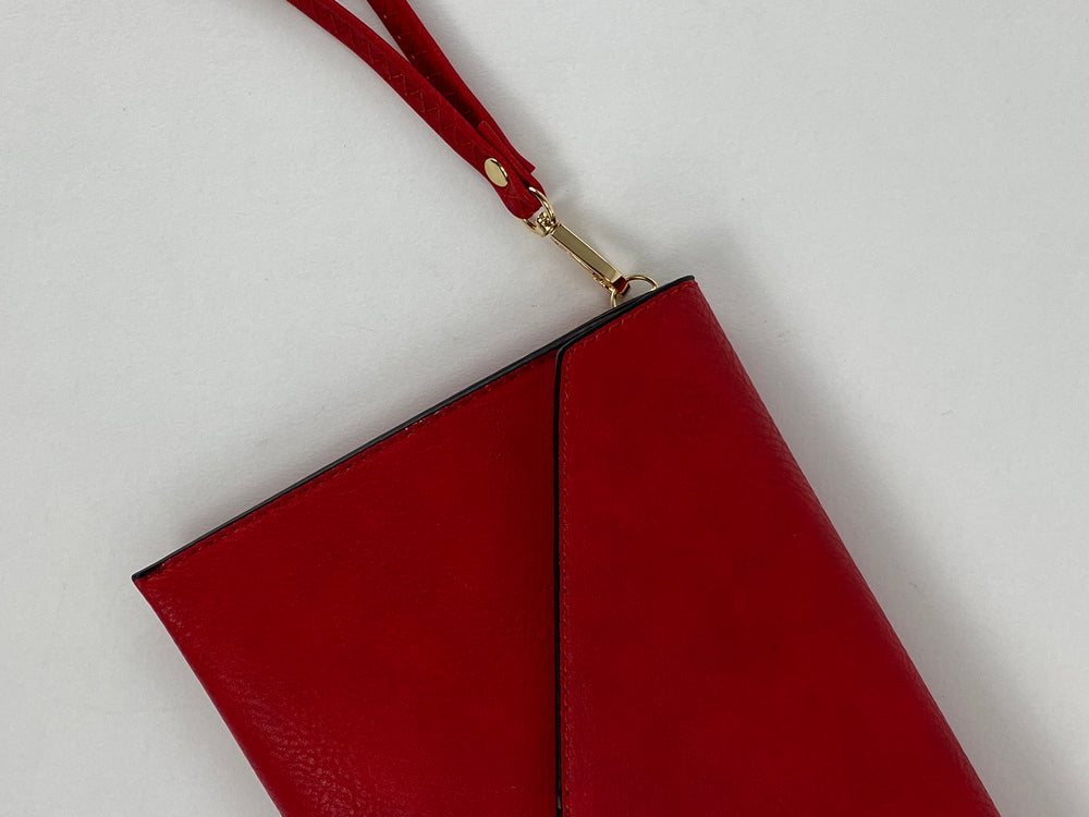 Pretty Vacant red envelope clutch bag - faux leather with wrist strap gold clasp