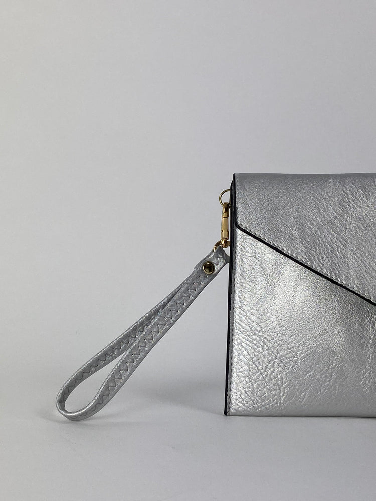 Silver Envelope Clutch Bag