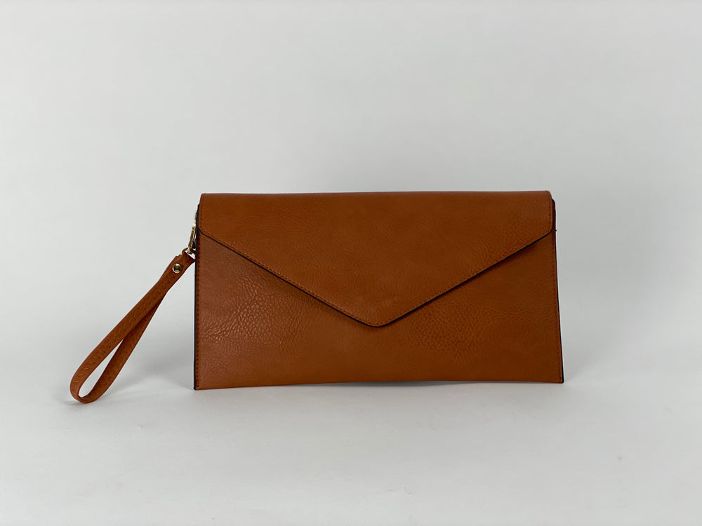 Pretty Vacant brown envelope clutch bag with gold clasp - faux leather - front view