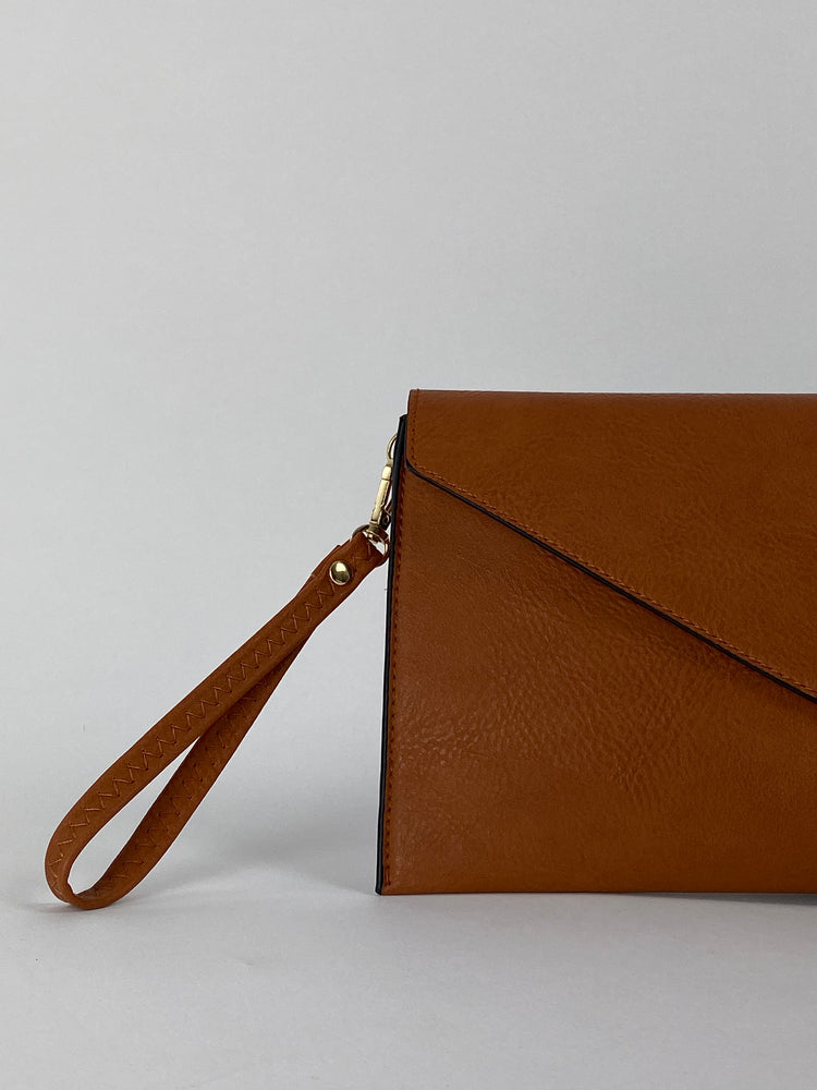 Pretty Vacant brown envelope clutch bag with gold clasp - faux leather