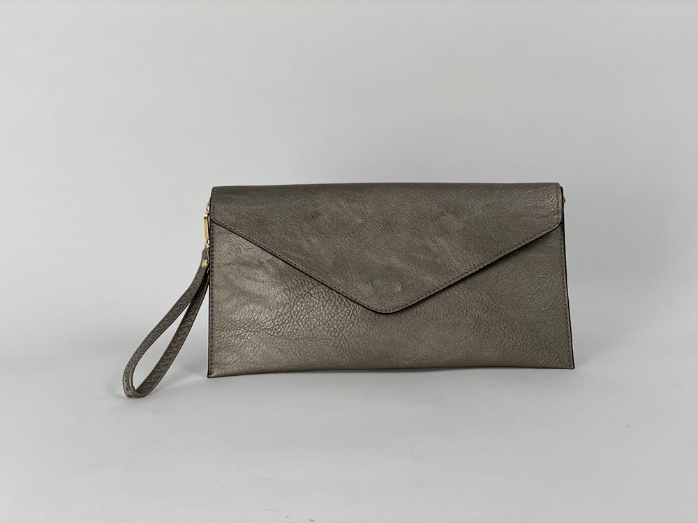 Pretty Vacant metallic grey envelope clutch bag - faux leather - front view