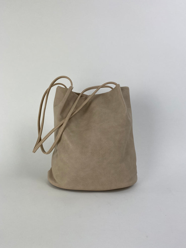 beige tote bag faux leather